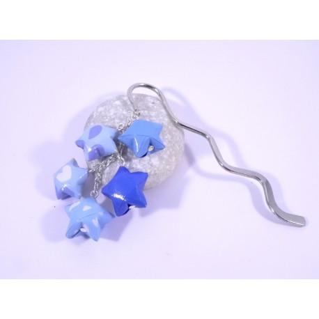 Marque-Page Origami Constellation bleu avec nuages