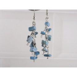 Boucles d'oreilles chips pierres bleu turquoise