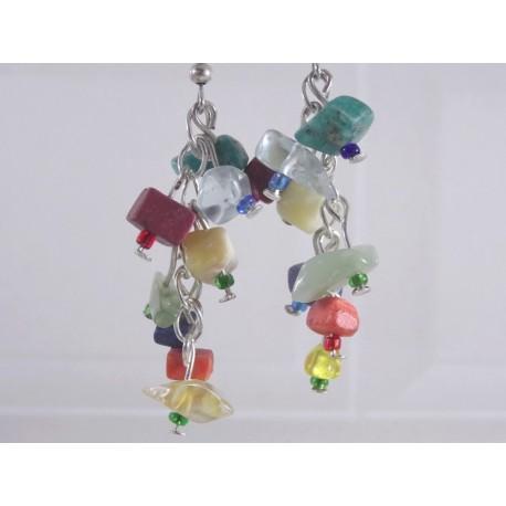 Boucles d'oreilles chips pierres multicolore
