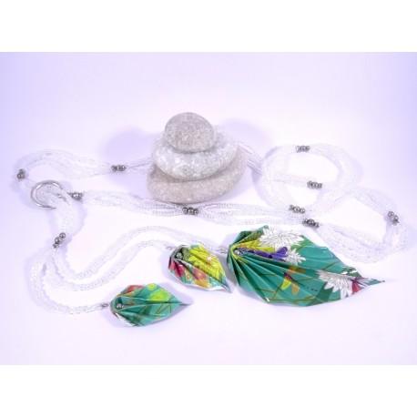 Sautoir Légende d'Automne argent et turquoise avec fleurs multicolores