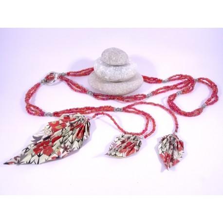 Sautoir Légende d'Automne rouge et blanc avec motifs japonais
