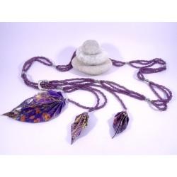 Sautoir Légende d'Automne violet avec fleurs japonaises