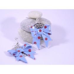 Boucles Origami Noeuds bleus avec pois rouges
