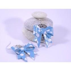 Boucles Origami Noeuds bleus avec pois blancs