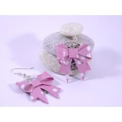 Boucles Origami Nœuds roses avec pois blancs