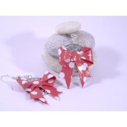Boucles Origami Nœuds rouges avec pois blancs