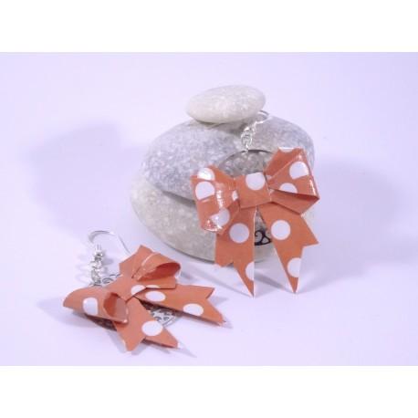 Boucles Origami Nœuds rouge-orange avec pois blancs