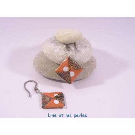 Boucles Carré Origami pois orangés et motifs japonais