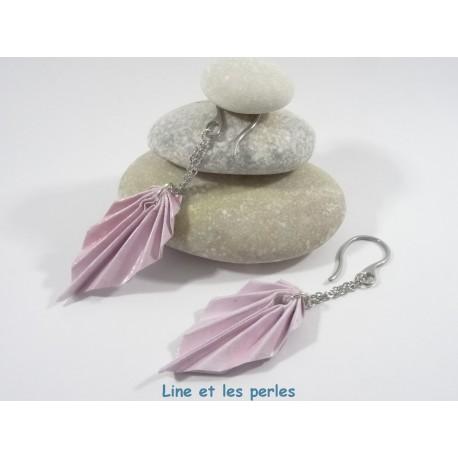 Boucles Feuilles Origami rose pâle