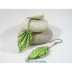 Boucles Feuilles Origami vichy vert