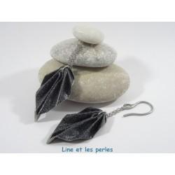 Boucles Feuilles Origami noir pailleté