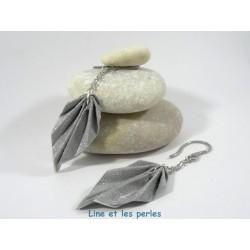 Boucles Feuilles Origami argent pailleté