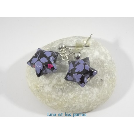 Boucles Origami Nova noir avec feuilles bleues