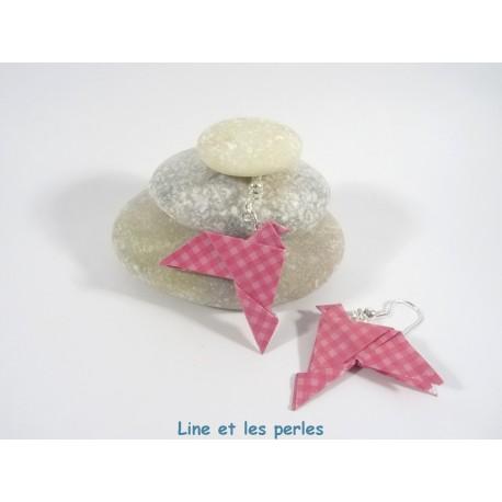 Boucles Oiseaux Origami vichy rose