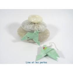 Boucles Oiseaux Origami vert d'eau avec petites coccinelles