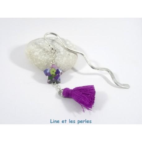 Marque-Page Origami Pompon violet avec fleurs multicolores