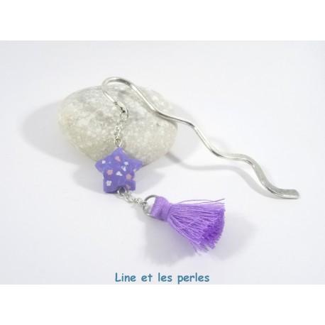 Marque-Page Origami Pompon parme avec fleurs roses et blanches