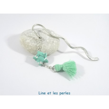Marque-Page Origami Pompon vert d'eau avec fleurs blanches
