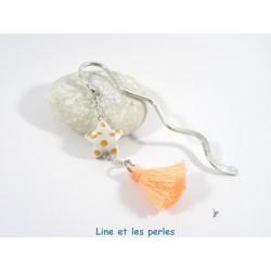 Marque-Page Origami Pompon orange pastel avec pois