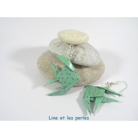 Boucles Poissons Origami vert turquoise avec pois fuchsia