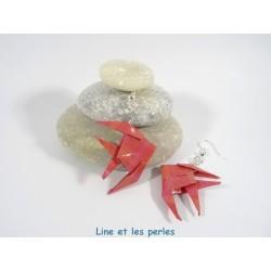 Boucles Poissons Origami motif quadrillage rouge