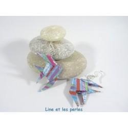 Boucles Poissons Origami bleu avec motif quadrillage multicolore