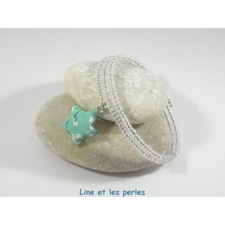 Bracelet Origami Tornade Etoile vert d'eau avec fleurs et Perles transparentes irisées