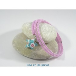 Bracelet Origami Tornade Etoile turquoise à fleurs multicolores et Perles rose nacré