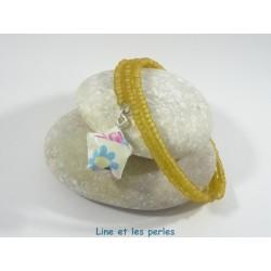 Bracelet Origami Tornade Etoile beige avec fleurs multicolores et Perles marron clair