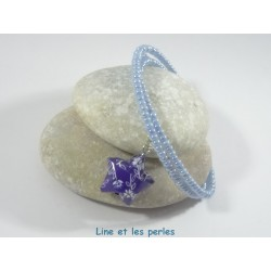 Bracelet Origami Tornade Etoile bleu roi avec fleurs et Perles nacrées bleu ciel