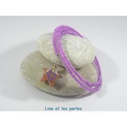 Bracelet Origami Tornade Etoile violet avec motifs japonais et Perles transparents parme