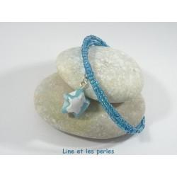 Bracelet Origami Tornade Etoile bleu ciel avec nuage et Perles brillantes bleu turquoise