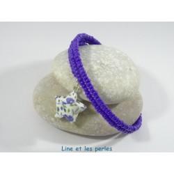 Bracelet Origami Tornade Etoile blanc avec fleurs bleues et Perles bleu roi opaques
