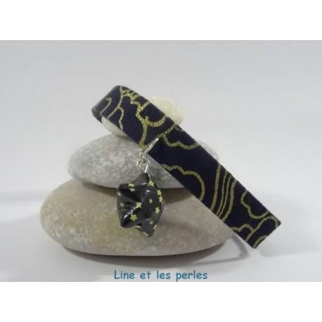 Bracelet Origami Ruban étoilé bleu foncé et or avec étoile noir et jaune