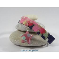 Bracelet Origami Ruban étoilé bleu foncé fleuri avec étoile fuchsia et pois