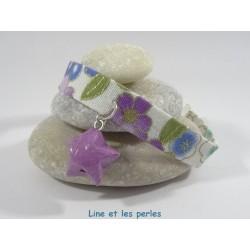 Bracelet Origami Ruban étoilé blanc et parme avec étoile violette