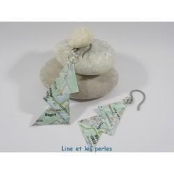 Boucles Arty Origami carte routière vert et blanc