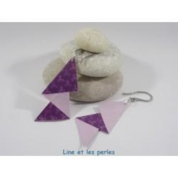 Boucles Arty Origami violet et parme avec fleurs stylisées
