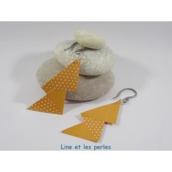 Boucles Arty Origami orange à pois