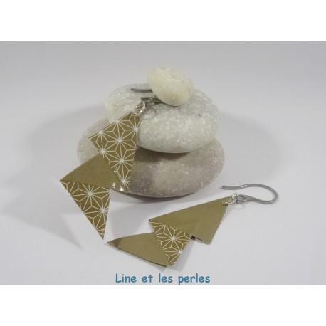 Boucles Arty Origami marron avec motifs géométriques