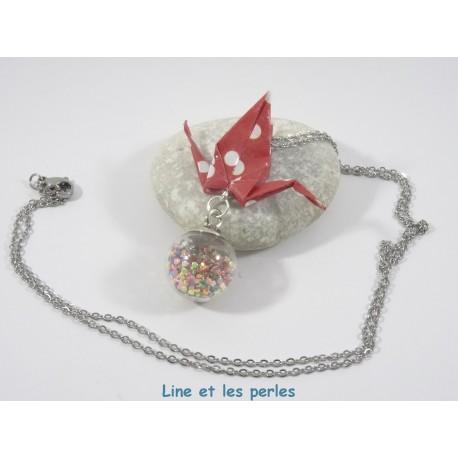 Collier Grue Origami sur Bulle rouge avec pois blanc